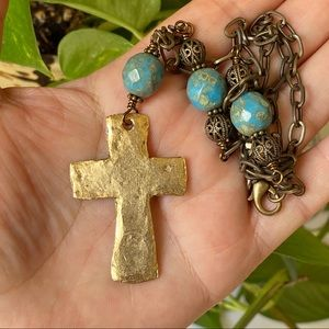 Jewelry - Rustic Cross Pendant Necklace Large Gold Tone